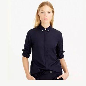 J Crew Piqué Collar Shirt Top 4 Navy Blue B4167
